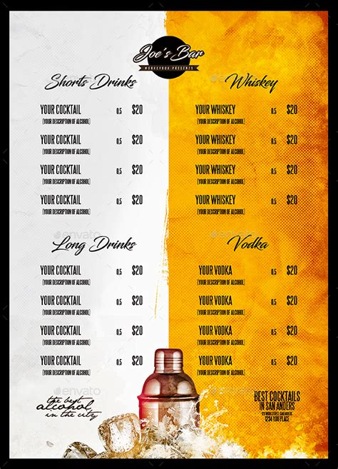 cocktail menu  monkeybox graphicriver