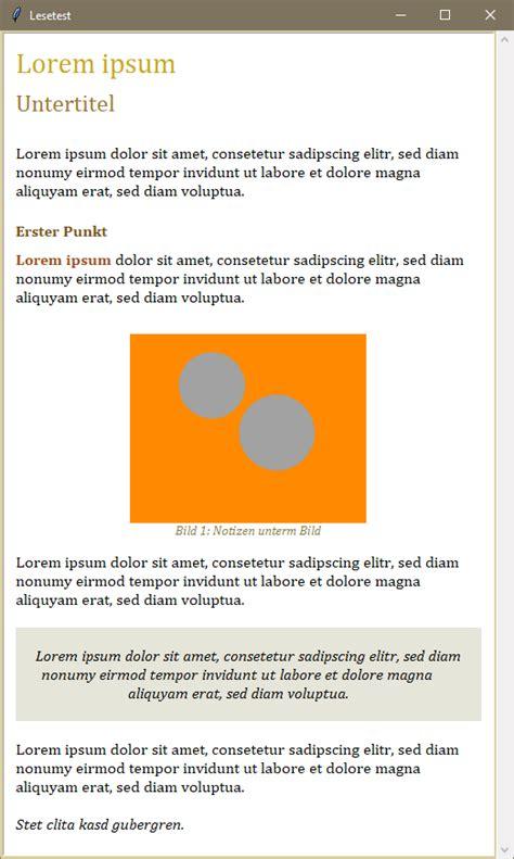 Lorem Ipsum Vorlage tkinter formatierte ausgabe html seiten coder welten de
