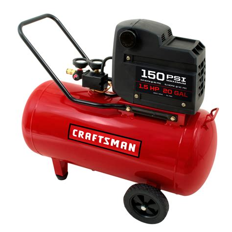craftsman 20 gallon 1 5 hp free portable horizontal air compressor 150 max psi