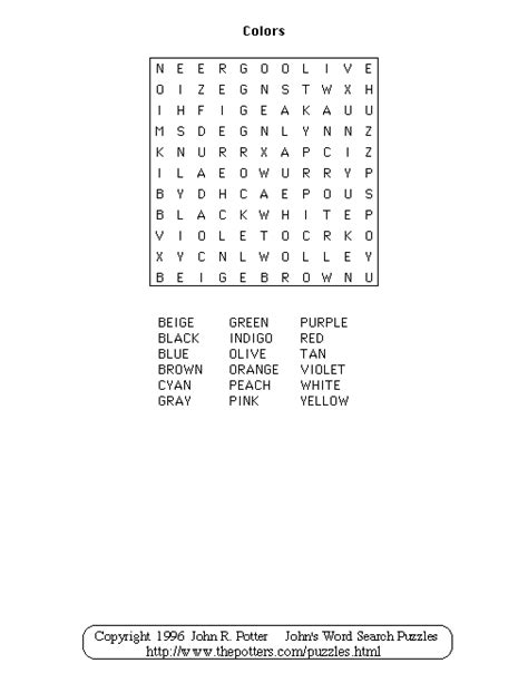 s word search puzzles colors