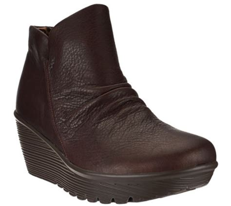 skechers ruched leather wedge boots parallel universe