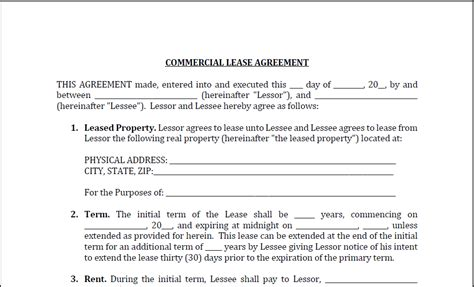 Commercial Lease Agreement Sle Resume Template Sle Basic Commercial Lease Agreement Template Free