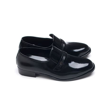 rubber soled loafers mens toe black cow leather rubber sole loafers