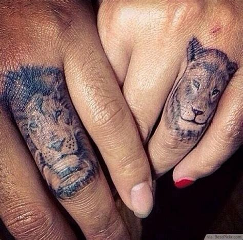 matching couple finger tattoos pin promise ring on