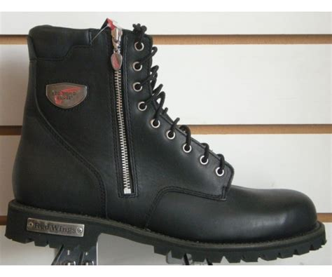 black lace up motorcycle boots wing 979 lace up zip mens black motorcycle boots