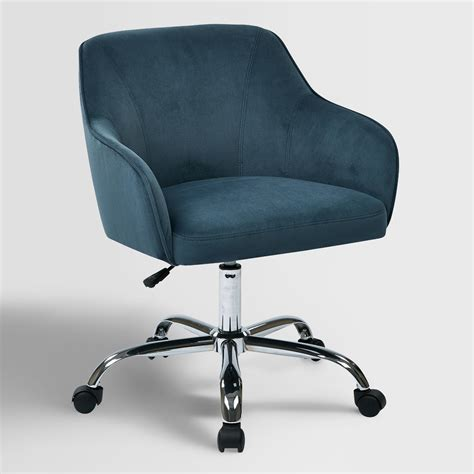 home chair blue velvet jozy home office chair world market