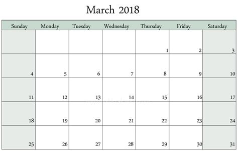 Editable March 2018 Calendar Calendar 2018 Edit Calendar Template 2018
