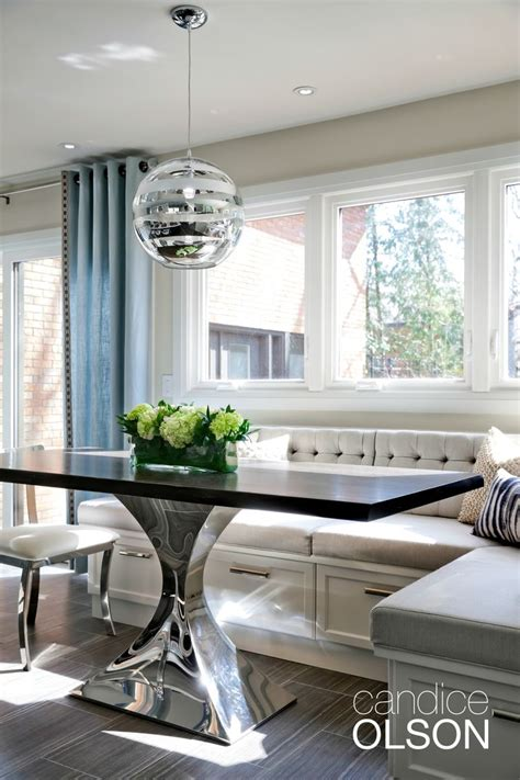 Dining Set: Leather Banquette   L Shaped Banquette