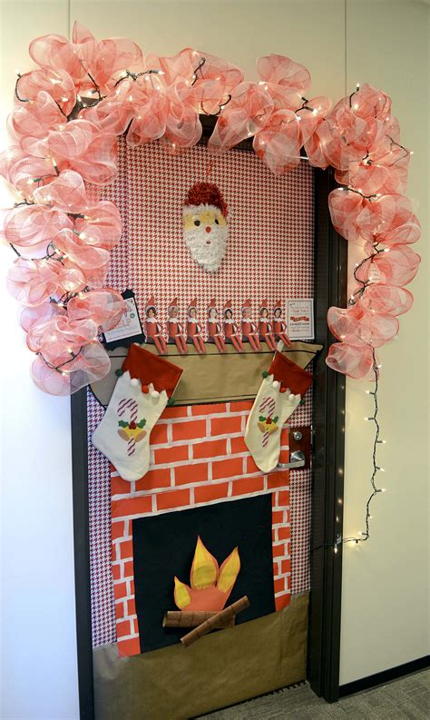 how to decorate doors and chimeny for christmas door decoration contest sparks new tti tradition a m transportation institute