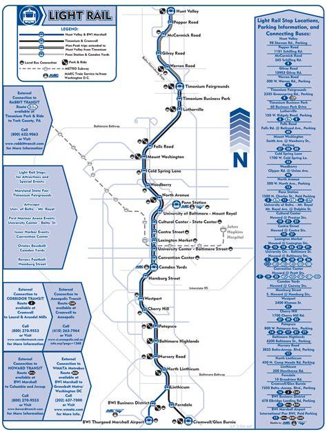 Light Rail Map by Baltimore Light Rail Map Tram Mapsof Net