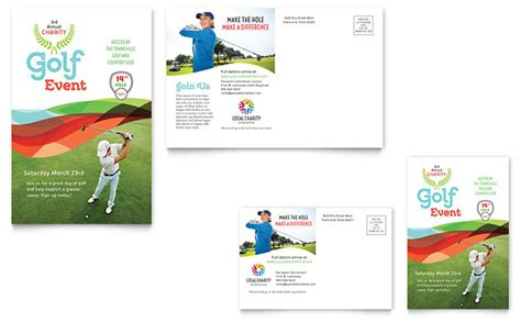event post card template charity golf event postcard template word publisher