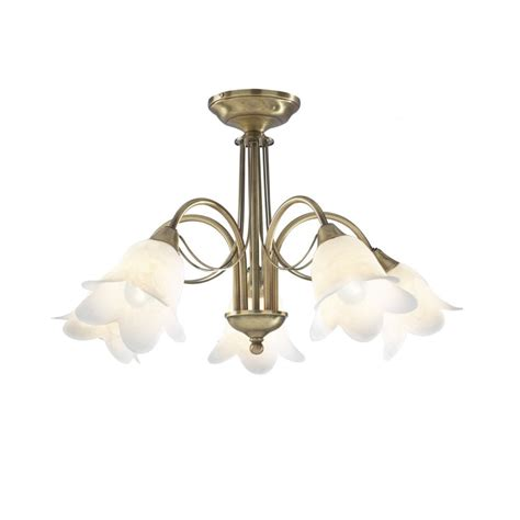 5 Light Ceiling Fitting by Dar Lighting Doublet Dou05475 Antique Brass Semi Flush 5