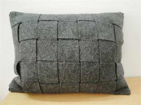 gray felt pillowcases felt weave throw pillow decorative woven grey felt cushion cover lumbar decorative pillow