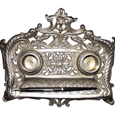 Nickel Plated Desk Ink Stand Circa 1900 From