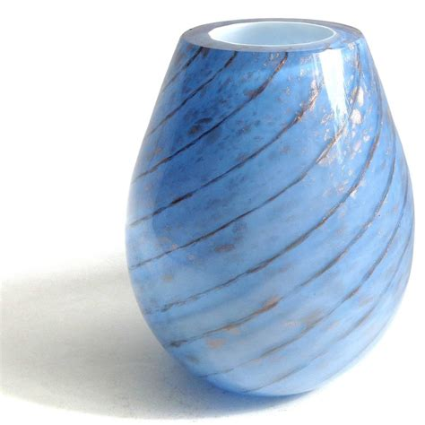 Blue Glass For Vases by Fratelli Toso Murano Blue Aventurine Swirl Italian