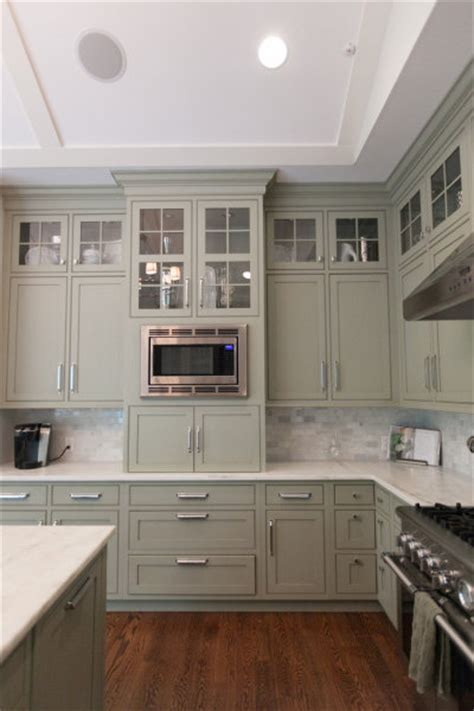grey and green kitchen gray green cabinets transitional kitchen
