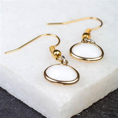 white opal earrings white opal gold earrings by cottons handmade