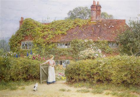Large Cottage House Plans surrey cottage painting by helen allingham