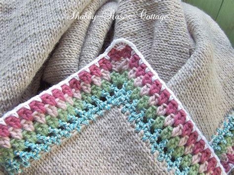 edging for knitted blanket shabby roses cottage crochet edging on a knitted blanket