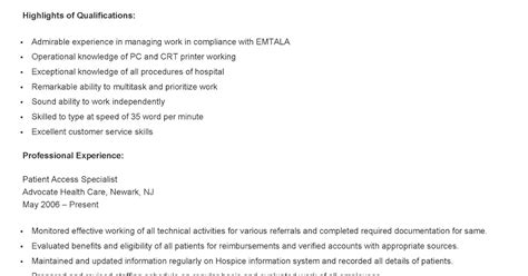 Patient Access Specialist by Resume Sles Sle Patient Access Specialist Resume