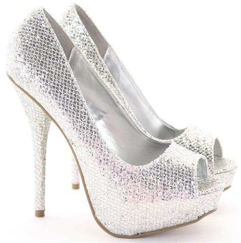 silver high heel shoe heels silver glitter is heel