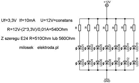 dioda led jaki rezystor 12v diody led czerwone 35 szt zasilacz 15 v jaki rezystor