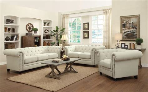 attractive cheap living room furniture set brown cream roy oatmeal linen sofa set coaster 504554
