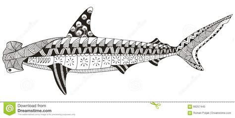 Hammerhead Shark Zentangle Stylized, Vector, Illustration