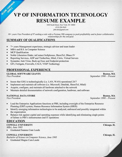 Technology Resume Exles by Vp Of Information Technology Resume Exle Http Resumecompanion Resume Sles Across