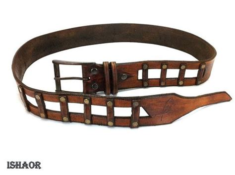 Mens Handmade Leather Belts - gift for steunk brown leather belt with golden