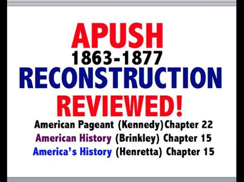 apush review review part ii reconstruction reconstruction and 1876 crash course us history 22 how