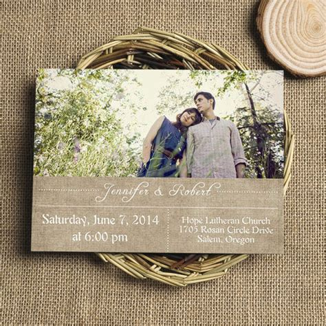 cheap rustic burlap photo wedding invite ewi324 as low as 0 94 - Cheap Burlap Wedding Invitations