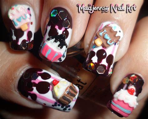 nail art ice cream tutorial cupcake ice cream melted chocolate 3d nail art