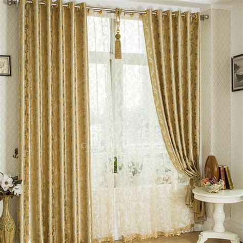 Living Room Curtains Gold Gold Polyester Thick Fabric Blackout Curtain With Jacquard