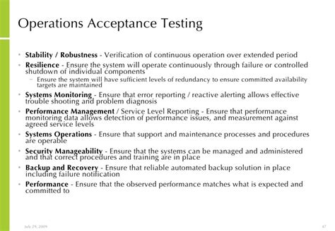 Operational Acceptance Testing Template introduction to server virtualisation planning and