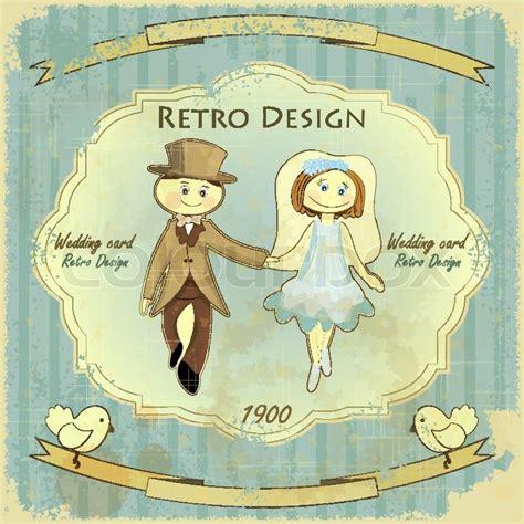 retro pattern card background vector graphic vintage retro design wedding card groom bride pigeons