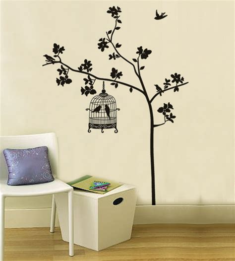free shipping removable wall stickers tree bird cage