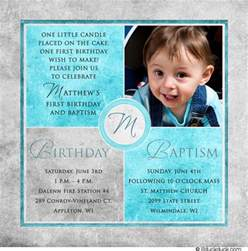 square photo baptism invitations christenings 1st birthday