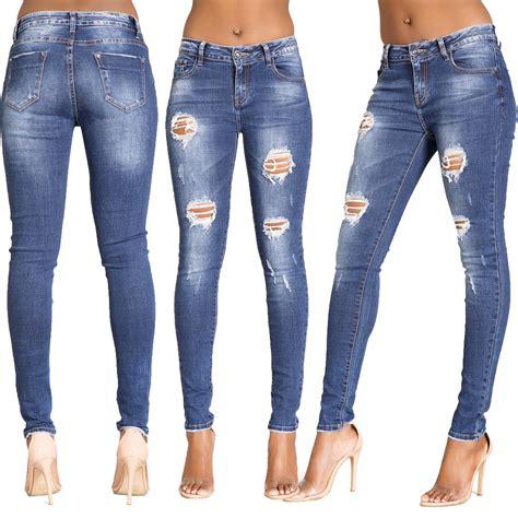 Ripped Jegging Ripped Jegging Ripped womens ripped knee faded slim fit denim size 6 8 10 12 14 16 ebay