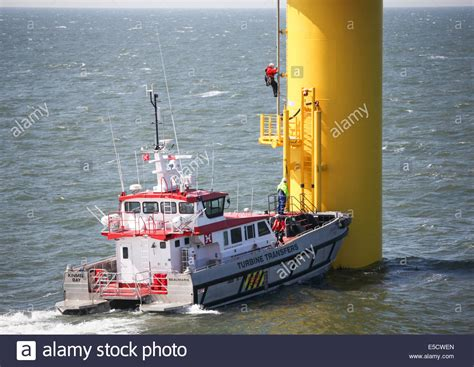 boat landing wind turbine a turbine transfer vessel on the gwynt y mor wind farm off