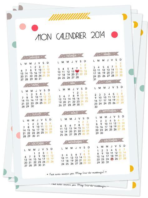 Calendrier à Imprimer 2014 Un Calendrier De 2014 Mignon 224 Imprimer Et T 233 L 233 Charger
