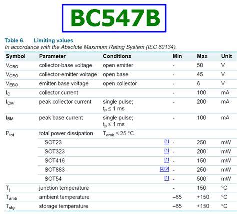 transistor bc547b datasheet bc547b datasheet 45v 100ma npn transistor nxp