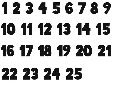 printable large numbers 1 25 advents numbers new calendar template site