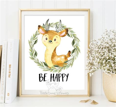 Livaza Wall Decor Be Happy woodland nursery wall print by littleemmasflowers on