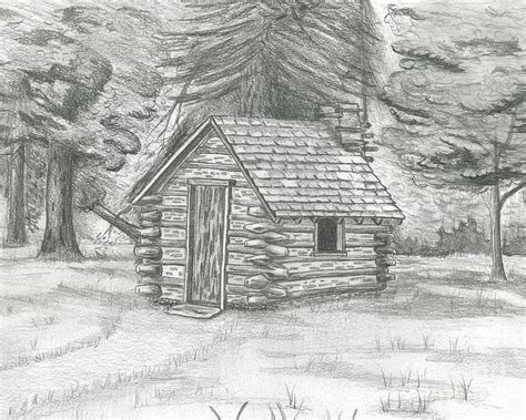 cabin drawings cabin in the woods drawing by david lingenfelter