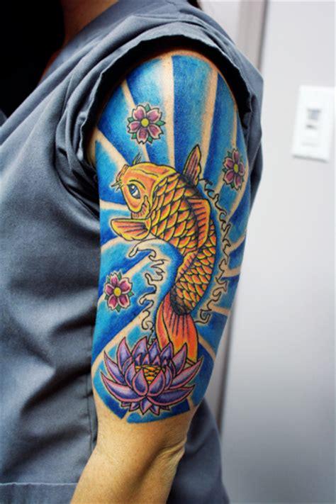 koi arm tattoo meaning koi fish half sleeve by lowkey704 deviantart com tattoos