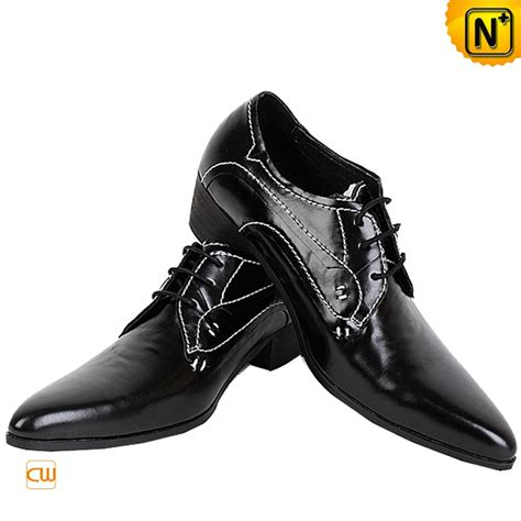 mens black leather lace up oxford dress shoes cw760070