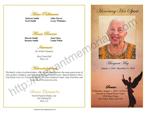 memorial page template graduated fold funeral program sle step fold funeral