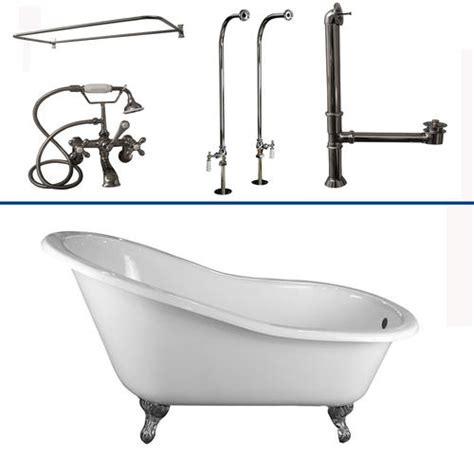Cast Iron Tub Shower Kit barclay tub kit 60 quot cast iron slipper tub with filler shower rod supplies drain in chrome at