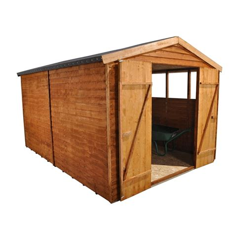 12 x 8 overlap apex wooden garden shed with 6 windows and doors shedsfirst